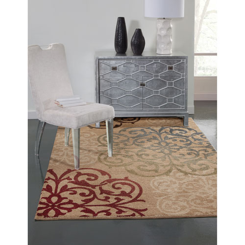 Ava Red Blue and Beige Rectangular: 5 Ft. 3 In. x 7 Ft. 6 In.  Rug