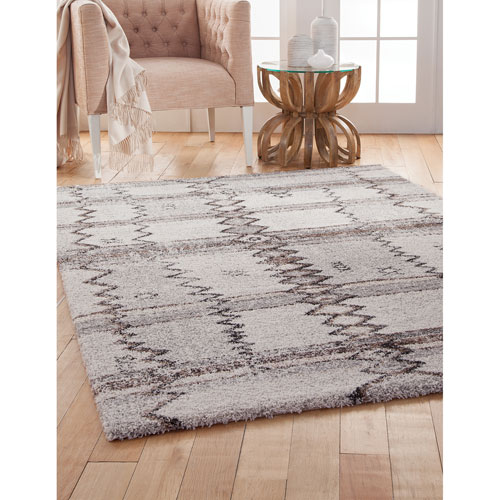 Abacasa Granada Gray Ivory and Brown Rectangular: 5 Ft. 3 In. x 7 Ft. 6 In.  Rug