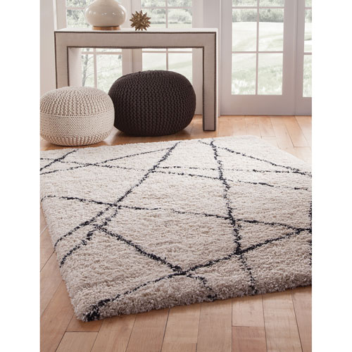 Abacasa Elements Ivory and Blue Rectangular: 5 Ft. 3 In. x 7 Ft. 6 In.  Rug
