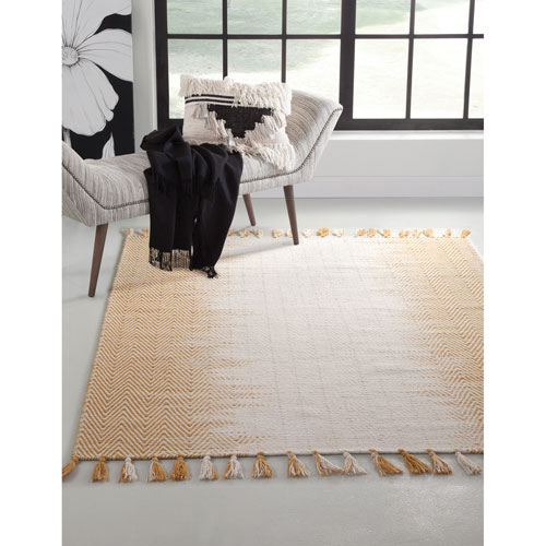 Lola Yellow and Ivory Rectangular: 5 Ft. x 8 Ft.  Rug