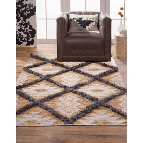 Fes Yellow and Blue Rectangular: 5 Ft. x 8 Ft.  Rug