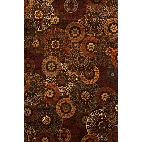 Abacasa Sonoma Rust and Brown Rectangular: 5 Ft 3 In x 7 Ft 6 In Rug