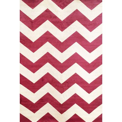 Abacasa Sonoma Raspberry and Ivory Rectangular: 5 Ft 3 In x 7 Ft 6 In Rug