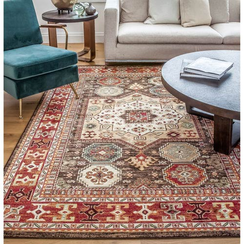Abacasa Sonoma Chocolate and Red Rectangular: 5 Ft 3 In x 7 Ft 6 In Rug