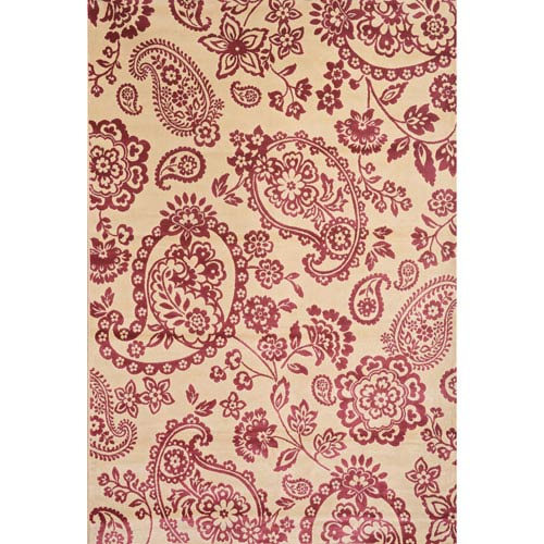Abacasa Sonoma Ivory and Raspberry Rectangular: 5 Ft 3 In x 7 Ft 6 In Rug
