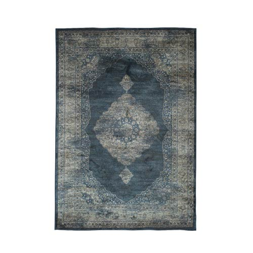 Abacasa Sonoma Navy Blue and Silver Rectangular: 5 Ft 3 In x 7 Ft 6 In Rug