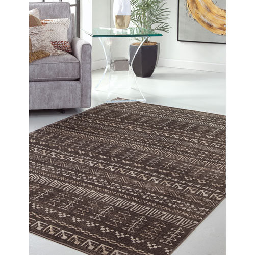 Abacasa Sonoma Brown and Ivory Rectangular: 5 Ft. 3 In. x 7 Ft. 6 In.  Rug