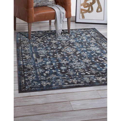 Abacasa Sonoma Blue and Ivory Rectangular: 5 Ft. 3 In. x 7 Ft. 6 In.  Rug