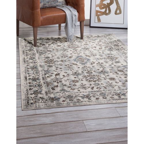 Abacasa Sonoma Gray Ivory and Blue Rectangular: 5 Ft. 3 In. x 7 Ft. 6 In.  Rug