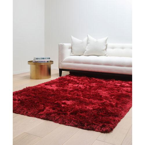 Luxe Shag Red Rectangular: 5 Ft. x 8 Ft.  Rug
