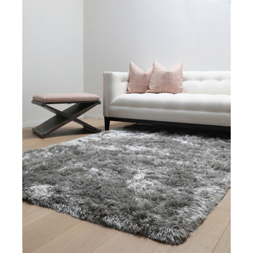 Luxe Shag Grey Rectangular: 5 Ft. x 8 Ft.  Rug