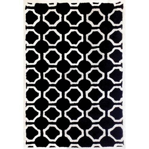 Lifestyle White and Black Rectangular: 5 Ft x 8 Ft Rug