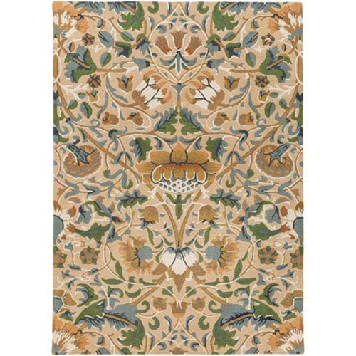 William Morris Yellow and Blue Rectangular: 8 Ft. x 11 Ft. Area Rug