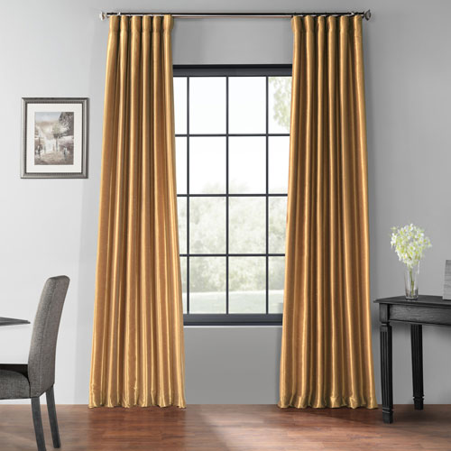 Flax Gold 50 x 84-Inch Blackout Vintage Textured Faux Dupioni Silk Curtain
