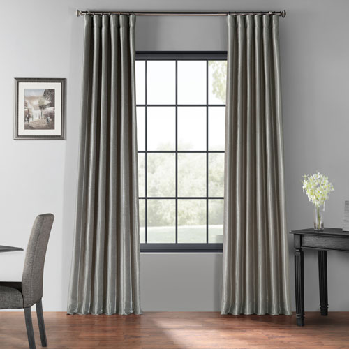 Silver 50 x 96-Inch Blackout Vintage Textured Faux Dupioni Silk Curtain
