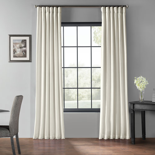 Off White 50 x 108-Inch Blackout Vintage Textured Faux Dupioni Silk Curtain
