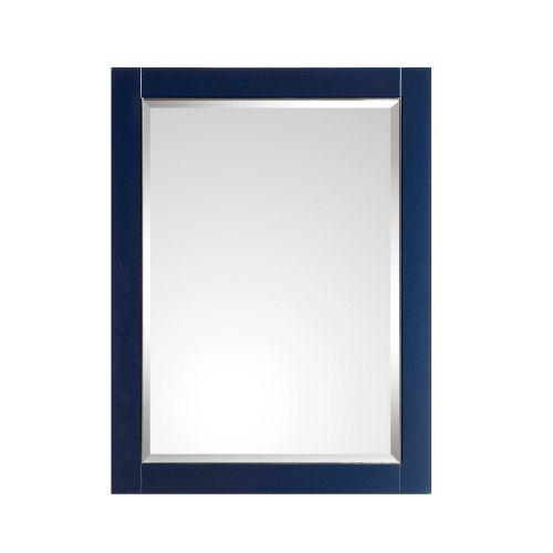 Navy Blue 24-Inch Mirror with Silver Trim