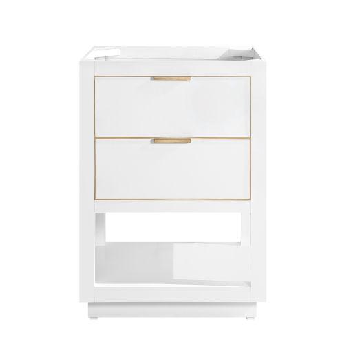 White 24-Inch Allie Bath Vanity Cabinet with Gold Trim
