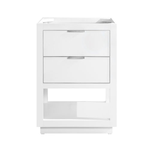 White 24-Inch Allie Bath Vanity Cabinet with Silver Trim