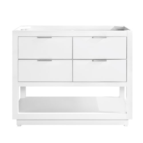 White 42-Inch Bath Vanity Cabinet with Silver Trim