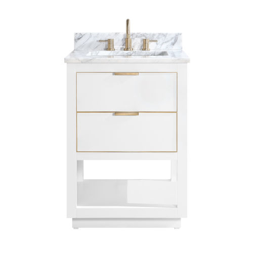 White 25-Inch Bath vanity with Gold Trim and White Marble Top