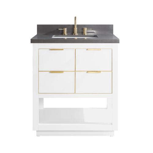 White 31-Inch Bath vanity with Gold Trim and Gray Quartz Top