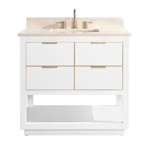 White 37-Inch Bath vanity with Gold Trim and Crema Marfil Marble Top