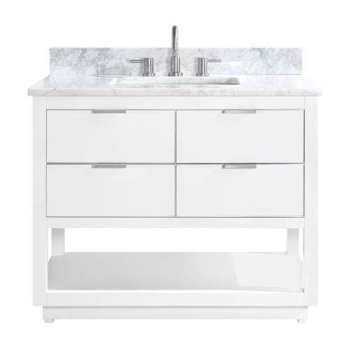 White 43-Inch Bath vanity with Silver Trim and Carrara White Marble Top