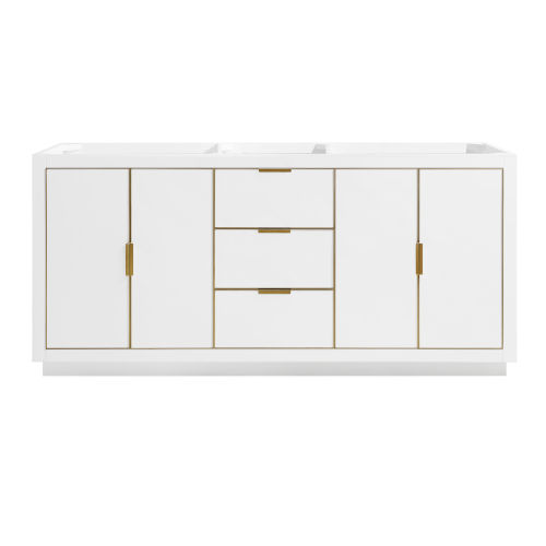 White 72-Inch Bath Vanity Cabinet with Gold Trim