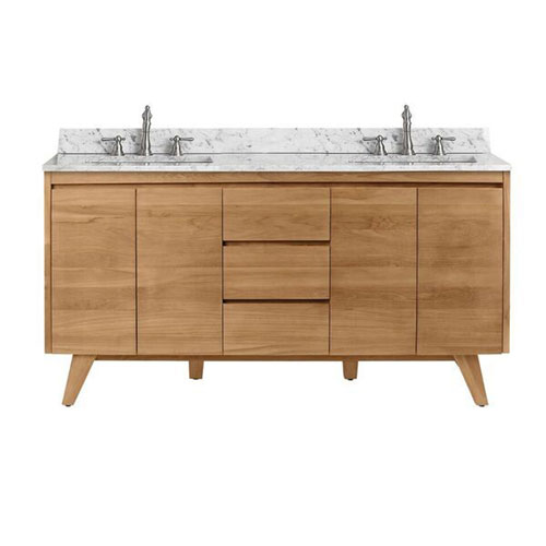 Avanity Coventry 61 Inch Vanity In Natural Teak With Carrara White Top Coventry Vs61 Nt Bellacor