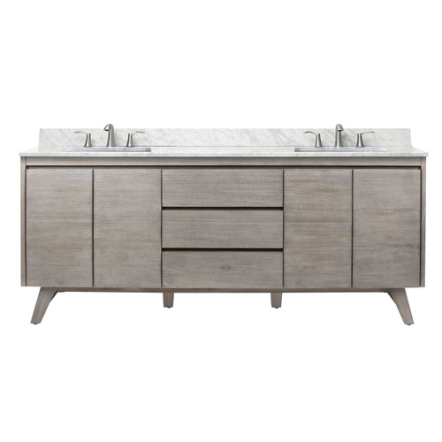 Coventry 73 inch Vanity in Gray Teak with Carrara White Top