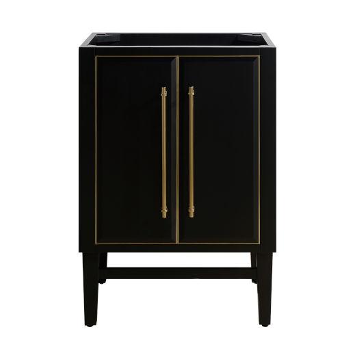 Black 24-Inch Bath Vanity Cabinet with Gold Trim