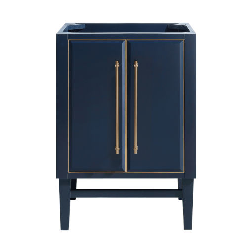 Navy Blue 24-Inch Bath vanity Cabinet with Gold Trim