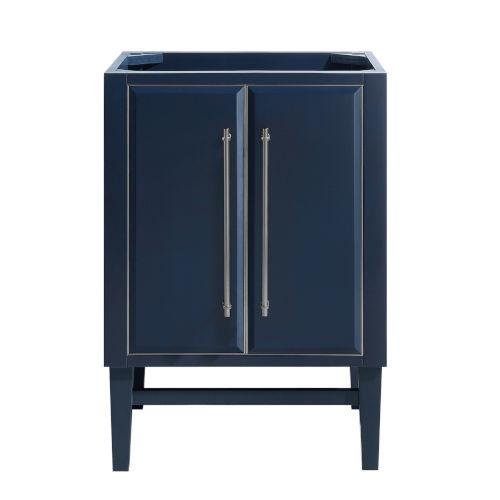 Navy Blue 24-Inch Bath vanity Cabinet with Silver Trim