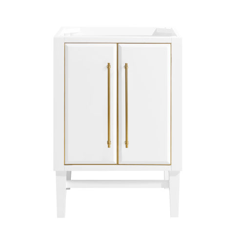 White 24-Inch Mason Bath vanity Cabinet with Gold Trim