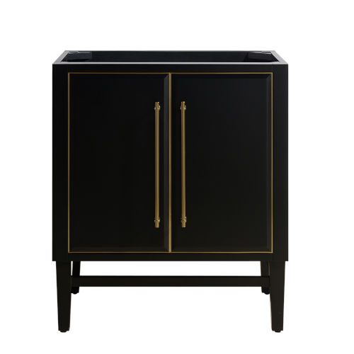 Black 30-Inch Bath vanity Cabinet with Gold Trim