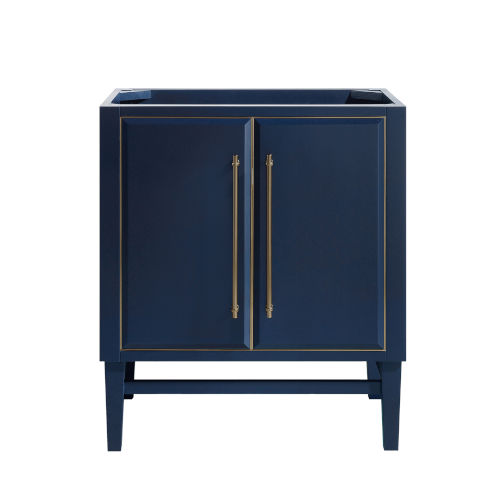 Navy Blue 30-Inch Bath vanity Cabinet with Gold Trim