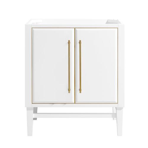 White 30-Inch Mason Bath vanity Cabinet with Gold Trim