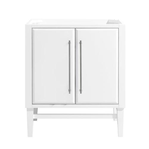 White 30-Inch Mason Bath vanity Cabinet with Silver Trim
