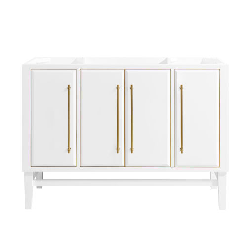 White 48-Inch Bath vanity Cabinet with Gold Trim