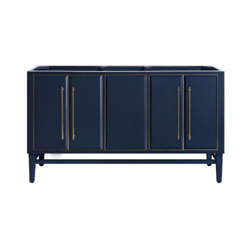 Navy Blue 60-Inch Bath vanity Cabinet with Gold Trim