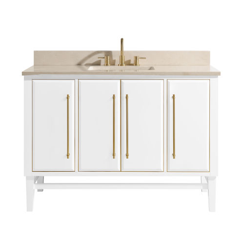 White 49-Inch Bath vanity Set with Gold Trim and Crema Marfil Marble Top