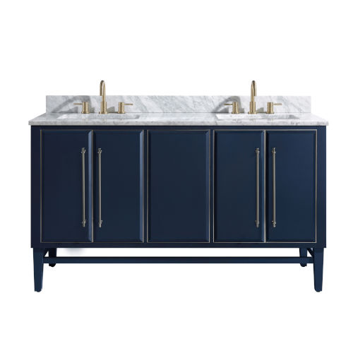Navy Blue 61-Inch Bath vanity Set with Silver Trim and Carrara White Marble Top