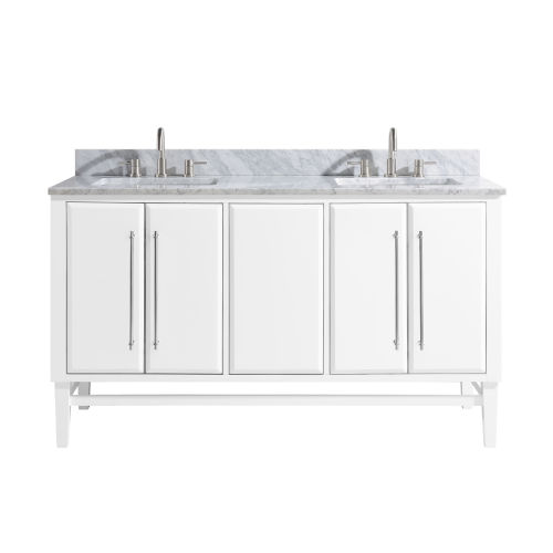 White 61-Inch Bath vanity Set with Silver Trim and Carrara White Marble Top
