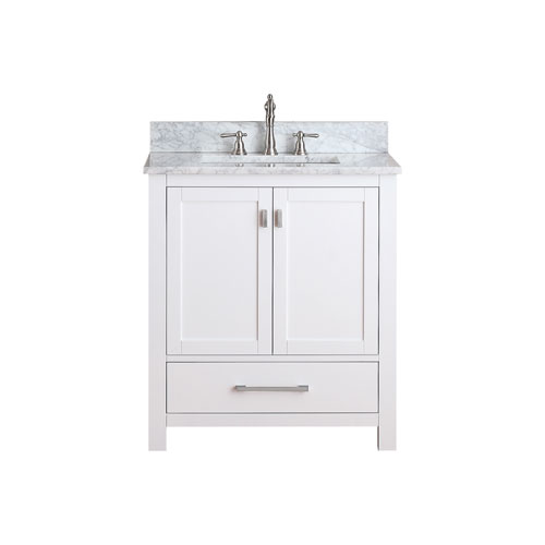 Modero White 30 Inch Vanity Combo With White Carrera Marble Top