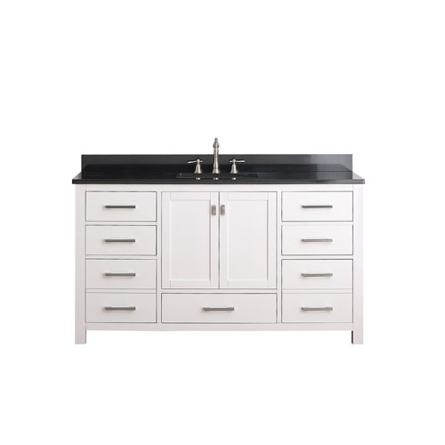 Avanity Modero 60 Inch White Single Vanity With Black Granite Top And Single Sink Modero Vs60 Wt A A Bellacor