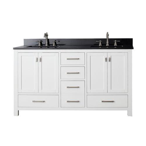 Avanity Modero 60 Inch White Double Vanity With Black Granite Top And Double Sinks Modero Vs60 Wt A Bellacor