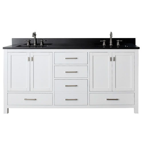 Avanity Modero White 72 Inch Double Sink Vanity With Black Granite Marble Top Modero Vs72 Wt A Bellacor