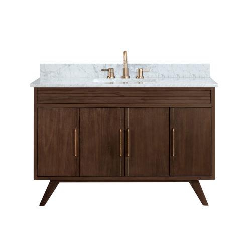 Taylor Brown Teak 49-Inch Bathroom vanity with Carrara White Marble Top
