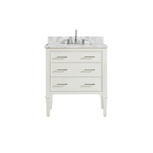 Arlington 31 inch Vanity in White finish with Carrera White Marble Top